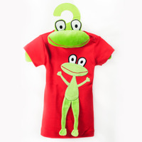 Short Sleeves Dress Red Frog + Frog Toy