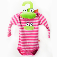Organic Striped Long Sleeves Bodysuit cerise/pink + Frog Toy