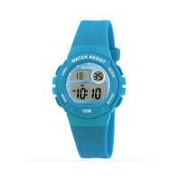 TIKKERS TEAL DIGITAL RUBBER STRAPWATCH