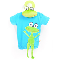 Short Sleeves T-shirt Turquoise Frog + Frog Toy
