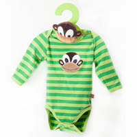 Organic Striped Long Sleeves Bodysuit green with monkey + Monkey Toy