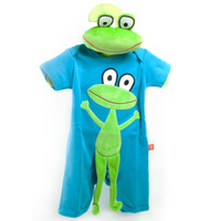 Short Sleeves Playsuit Turquoise Frog + Frog Toy