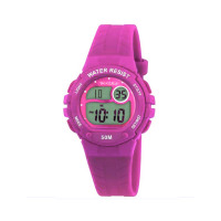 TIKKERS PINK DIGITAL RUBBER STRAPWATCH