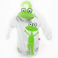 Long Sleeves Bodysuit White Frog – long + Frog Toy